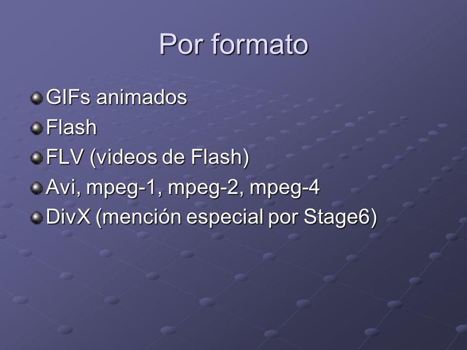 Por formato GIFs animados Flash FLV (videos de Flash) Avi, mpeg-1, mpeg-2, mpeg-4 DivX (mención especial por Stage6)