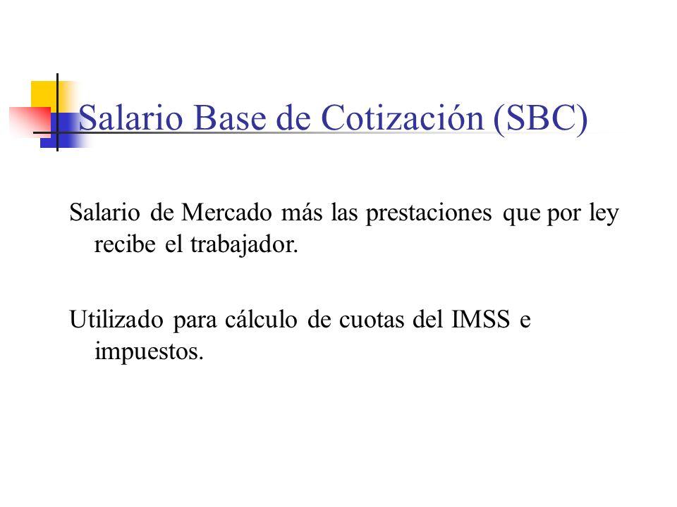 Salario Base de Cotización (SBC) Salario de Mercado más las prestaciones que por ley recibe el trabajador. Utilizado para cálculo de cuotas del IMSS e