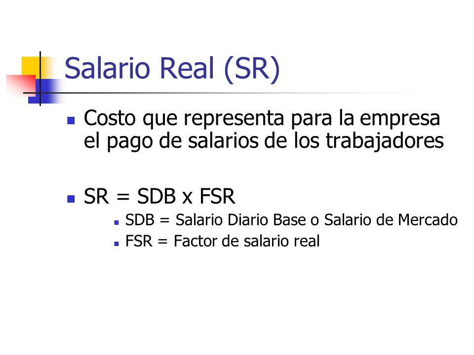 Salario Real (SR) Costo que representa para la empresa el pago de salarios de los trabajadores SR = SDB x FSR SDB = Salario Diario Base o Salario de M