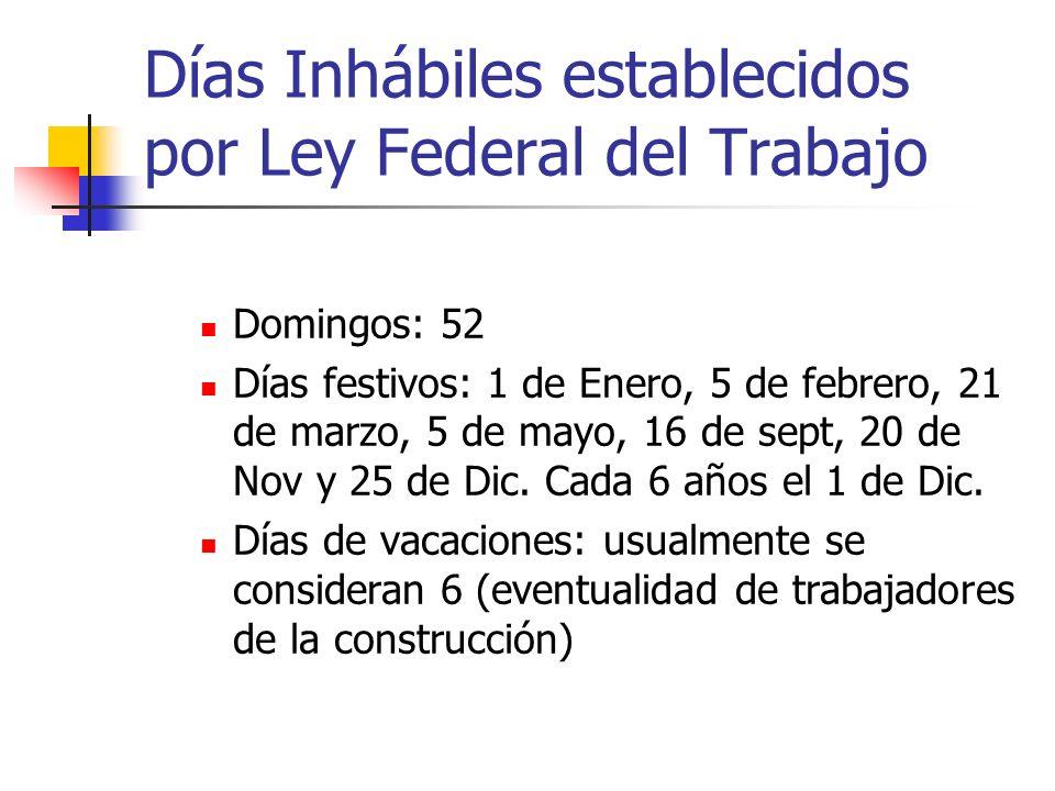Días Inhábiles establecidos por Ley Federal del Trabajo Domingos: 52 Días festivos: 1 de Enero, 5 de febrero, 21 de marzo, 5 de mayo, 16 de sept, 20 d
