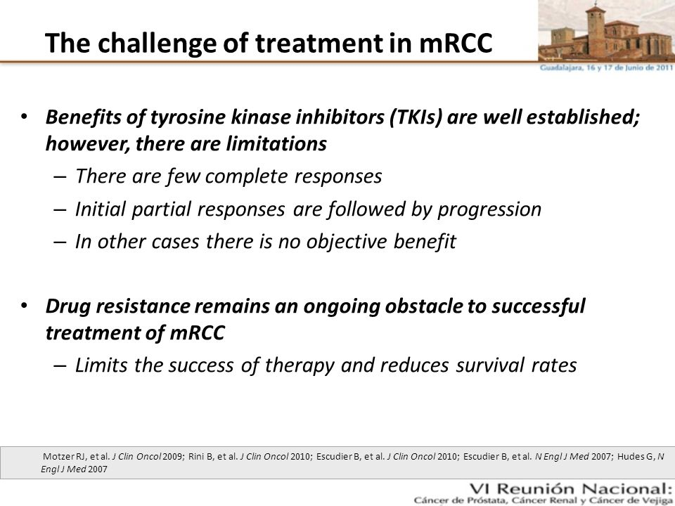 The challenge of treatment in mRCC Benefits of tyrosine kinase inhibitors (TKIs) are well established; however, there are limitations – There are few