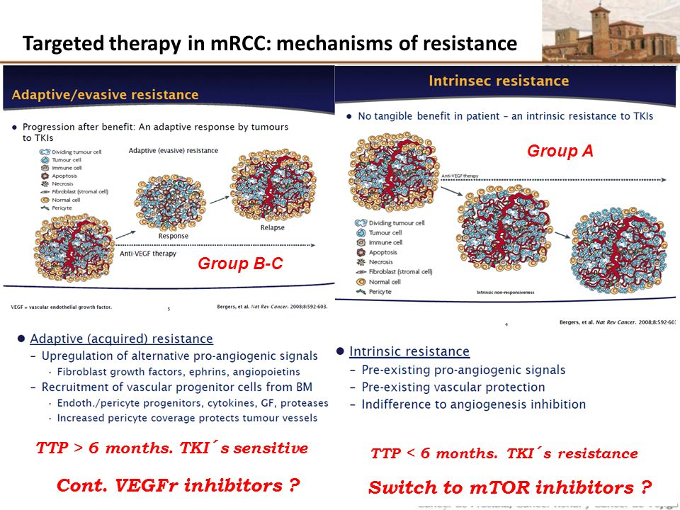 Targeted therapy in mRCC: mechanisms of resistance TTP > 6 months. TKI´s sensitive TTP < 6 months. TKI´s resistance Cont. VEGFr inhibitors ? Switch to