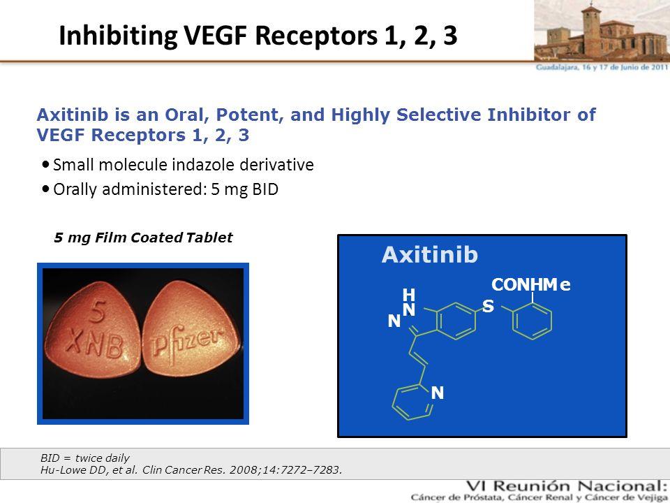 Inhibiting VEGF Receptors 1, 2, 3 Axitinib H N N S CONHMe N Small molecule indazole derivative Orally administered: 5 mg BID BID = twice daily Hu-Lowe