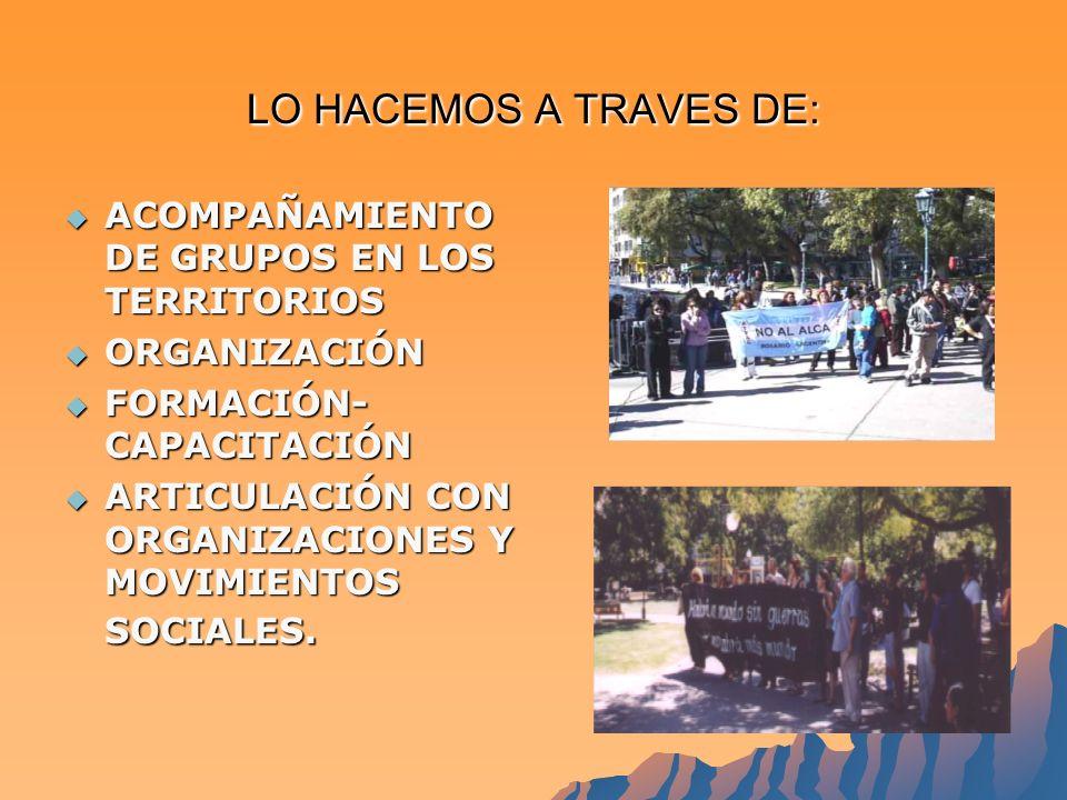 LO HACEMOS A TRAVES DE: ACOMPAÑAMIENTO DE GRUPOS EN LOS TERRITORIOS ACOMPAÑAMIENTO DE GRUPOS EN LOS TERRITORIOS ORGANIZACIÓN ORGANIZACIÓN FORMACIÓN- CAPACITACIÓN FORMACIÓN- CAPACITACIÓN ARTICULACIÓN CON ORGANIZACIONES Y MOVIMIENTOS SOCIALES.