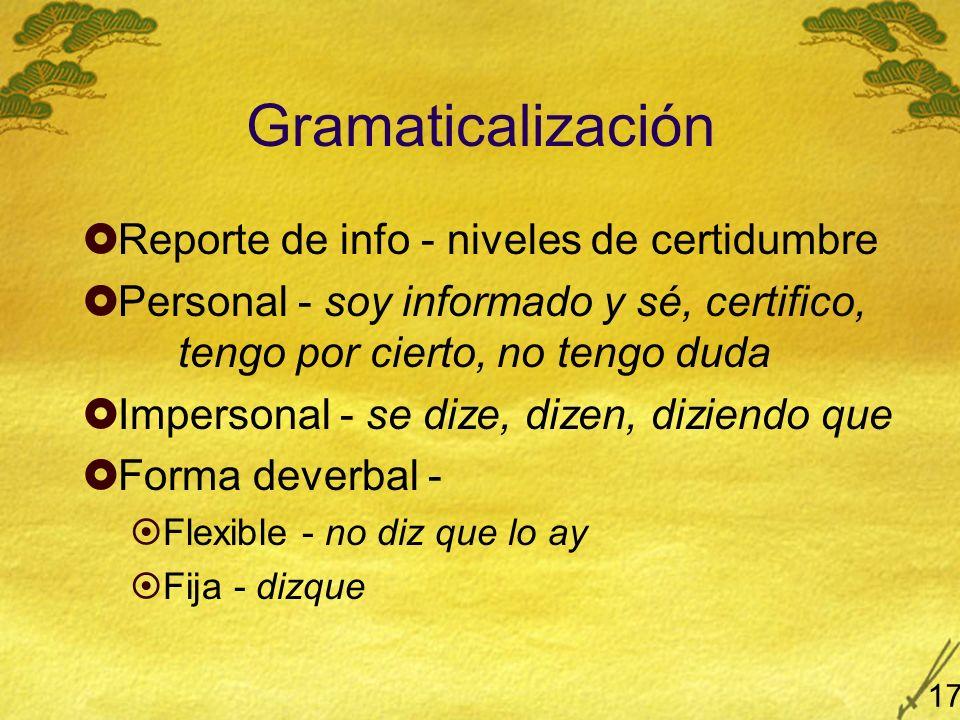 Gramaticalización Reporte de info - niveles de certidumbre Personal - soy informado y sé, certifico, tengo por cierto, no tengo duda Impersonal - se dize, dizen, diziendo que Forma deverbal - Flexible - no diz que lo ay Fija - dizque 17