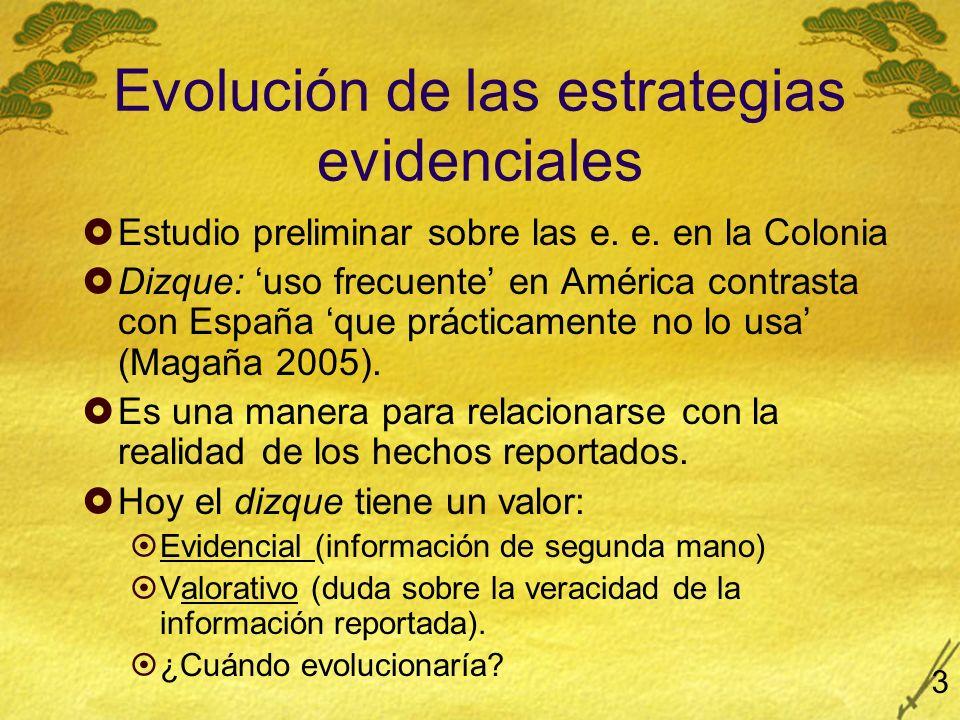 Evolución de las estrategias evidenciales Estudio preliminar sobre las e. e. en la Colonia Dizque: uso frecuente en América contrasta con España que p