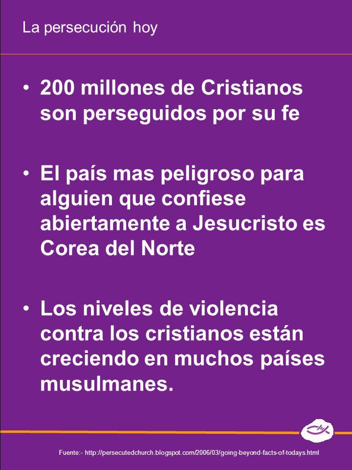 200 millones de Cristianos son perseguidos por su fe El país mas peligroso para alguien que confiese abiertamente a Jesucristo es Corea del Norte Los