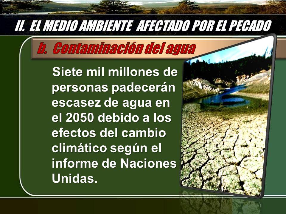 II. EL MEDIO AMBIENTE AFECTADO POR EL PECADO Siete mil millones de personas padecerán escasez de agua en el 2050 debido a los efectos del cambio climá
