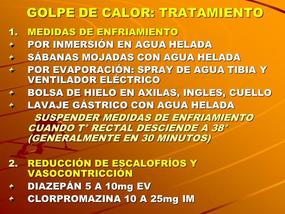 GOLPE DE CALOR: TRATAMIENTO 1.MEDIDAS DE ENFRIAMIENTO POR INMERSIÓN EN AGUA HELADA SÁBANAS MOJADAS CON AGUA HELADA POR EVAPORACIÓN: SPRAY DE AGUA TIBI