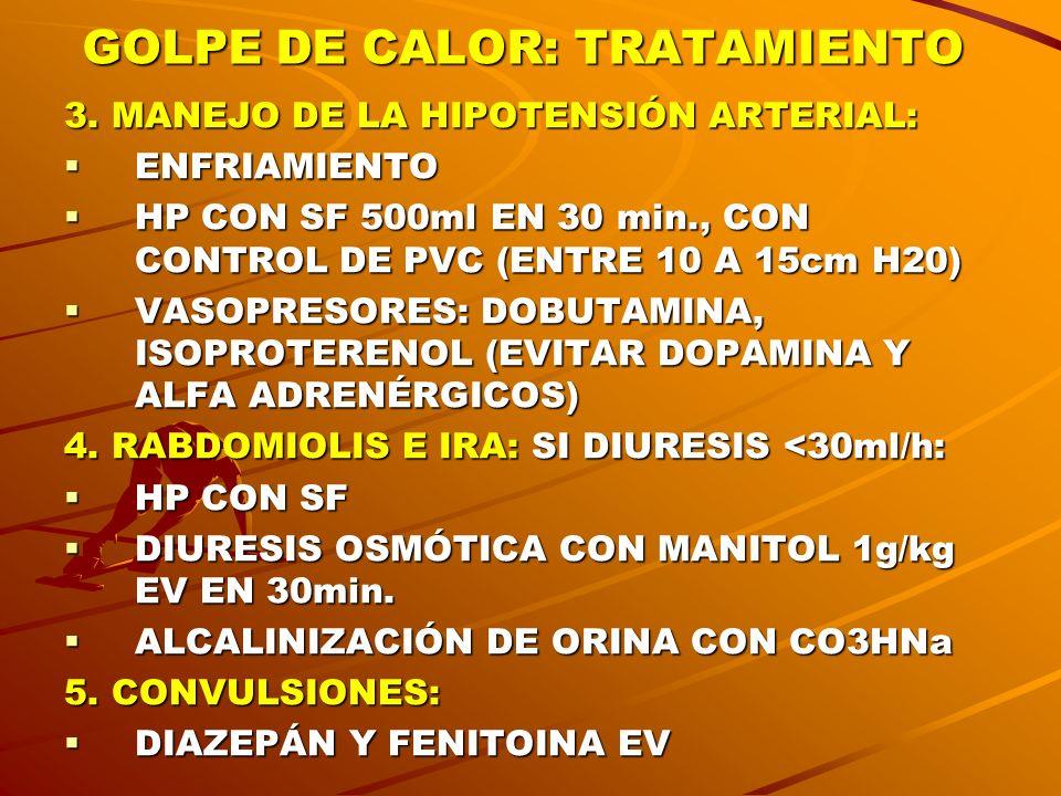 GOLPE DE CALOR: TRATAMIENTO 3. MANEJO DE LA HIPOTENSIÓN ARTERIAL: ENFRIAMIENTO ENFRIAMIENTO HP CON SF 500ml EN 30 min., CON CONTROL DE PVC (ENTRE 10 A