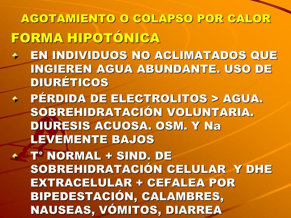 AGOTAMIENTO O COLAPSO POR CALOR FORMA HIPOTÓNICA EN INDIVIDUOS NO ACLIMATADOS QUE INGIEREN AGUA ABUNDANTE. USO DE DIURÉTICOS PÉRDIDA DE ELECTROLITOS >