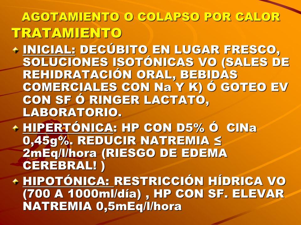 AGOTAMIENTO O COLAPSO POR CALOR TRATAMIENTO INICIAL: DECÚBITO EN LUGAR FRESCO, SOLUCIONES ISOTÓNICAS VO (SALES DE REHIDRATACIÓN ORAL, BEBIDAS COMERCIA