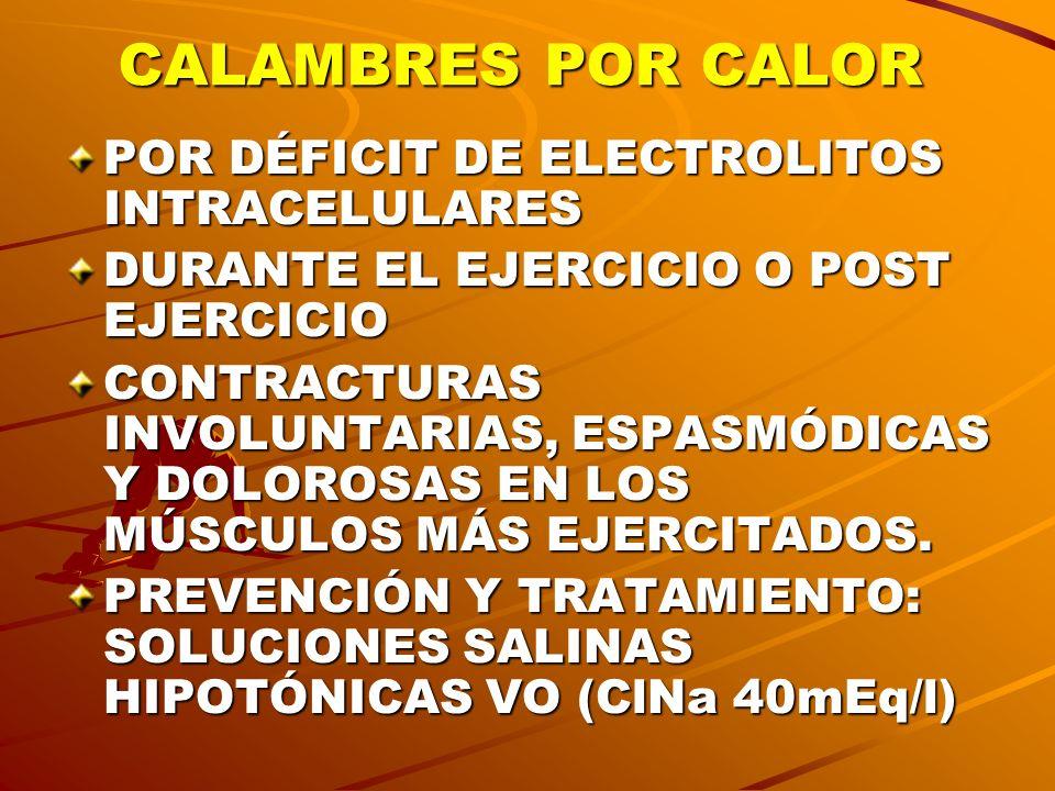 CALAMBRES POR CALOR POR DÉFICIT DE ELECTROLITOS INTRACELULARES DURANTE EL EJERCICIO O POST EJERCICIO CONTRACTURAS INVOLUNTARIAS, ESPASMÓDICAS Y DOLORO