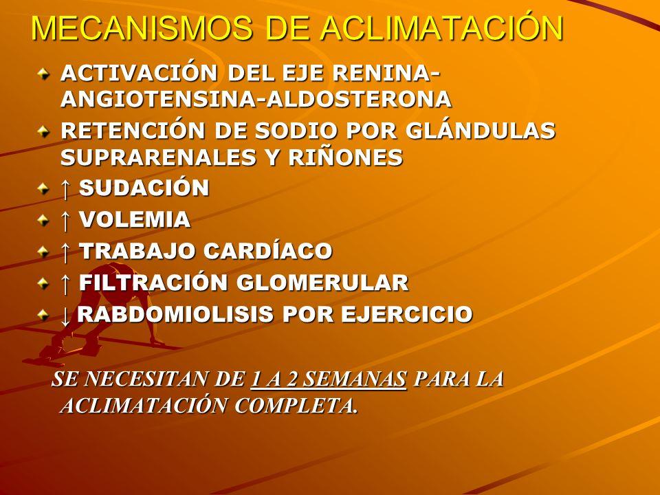 GOLPE DE CALOR: COMPLICACIONES RABDOMIOLISIS: ORINA ROJIZA, K, P, URICEMIA, Ca, CPK x5.