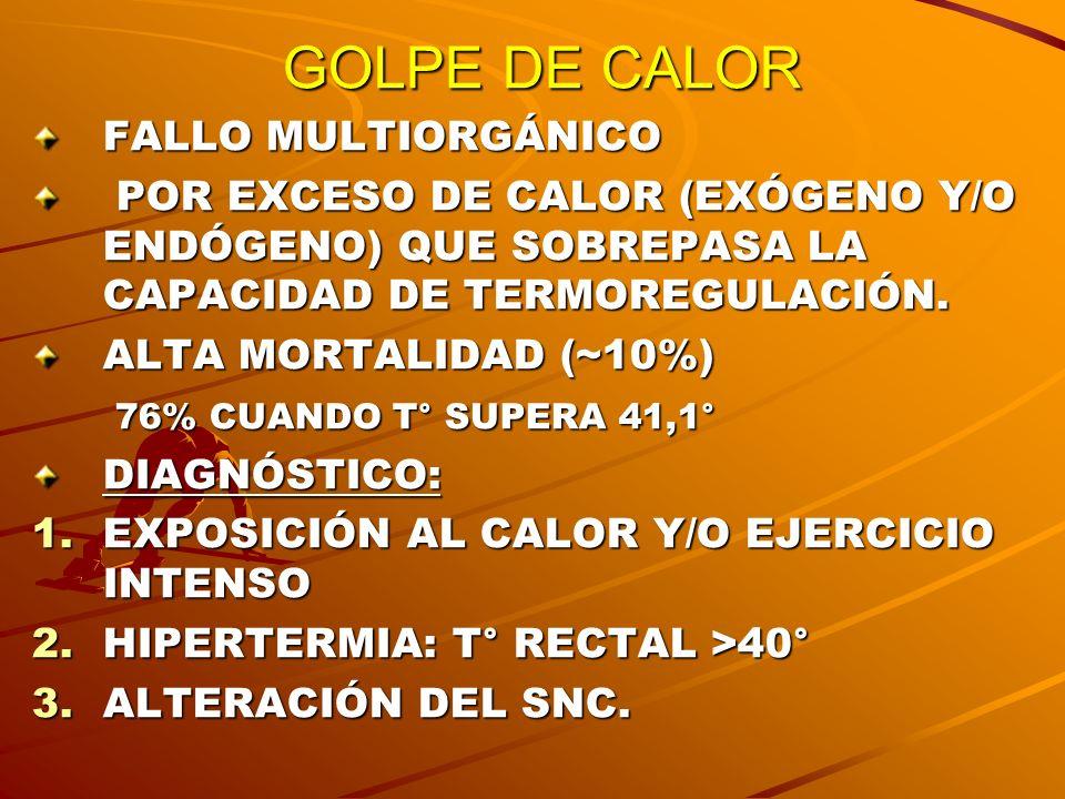 GOLPE DE CALOR FALLO MULTIORGÁNICO POR EXCESO DE CALOR (EXÓGENO Y/O ENDÓGENO) QUE SOBREPASA LA CAPACIDAD DE TERMOREGULACIÓN. POR EXCESO DE CALOR (EXÓG