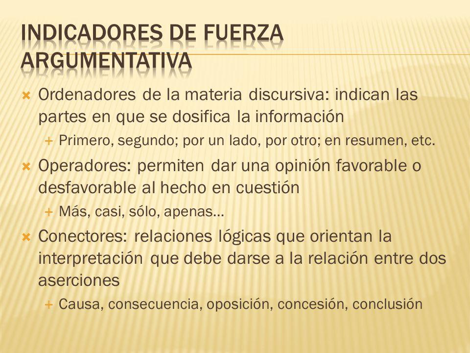 Ordenadores de la materia discursiva: indican las partes en que se dosifica la información Primero, segundo; por un lado, por otro; en resumen, etc.