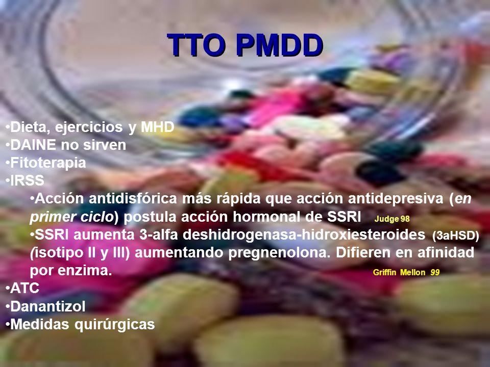 TTO PMDD Dieta, ejercicios y MHD DAINE no sirven Fitoterapia IRSS Acción antidisfórica más rápida que acción antidepresiva (en primer ciclo) postula a