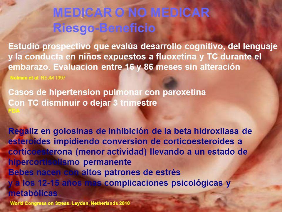Estudio prospectivo que evalúa desarrollo cognitivo, del lenguaje y la conducta en niños expuestos a fluoxetina y TC durante el embarazo. Evaluacion e