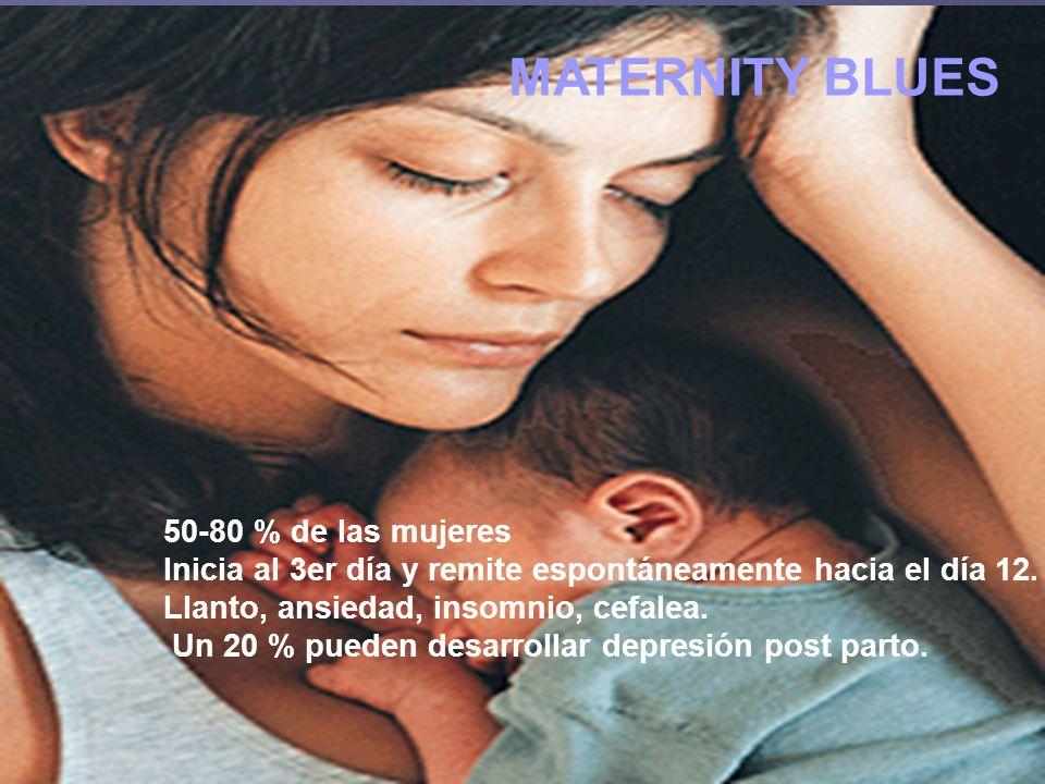 MATERNITY BLUES 50-80 % de las mujeres Inicia al 3er día y remite espontáneamente hacia el día 12. Llanto, ansiedad, insomnio, cefalea. Un 20 % pueden