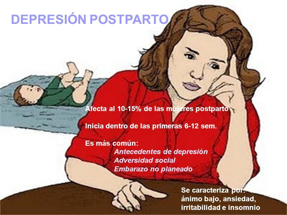 DEPRESIÓN POSTPARTO Afecta al 10-15% de las mujeres postparto Inicia dentro de las primeras 6-12 sem. Es más común: Antecedentes de depresión Adversid