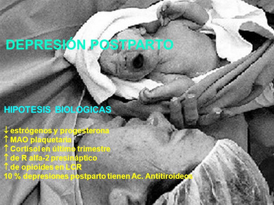 HIPOTESIS BIOLOGICAS estrógenos y progesterona MAO plaquetaria Cortisol en último trimestre de R alfa-2 presináptico de opioides en LCR 10 % depresion