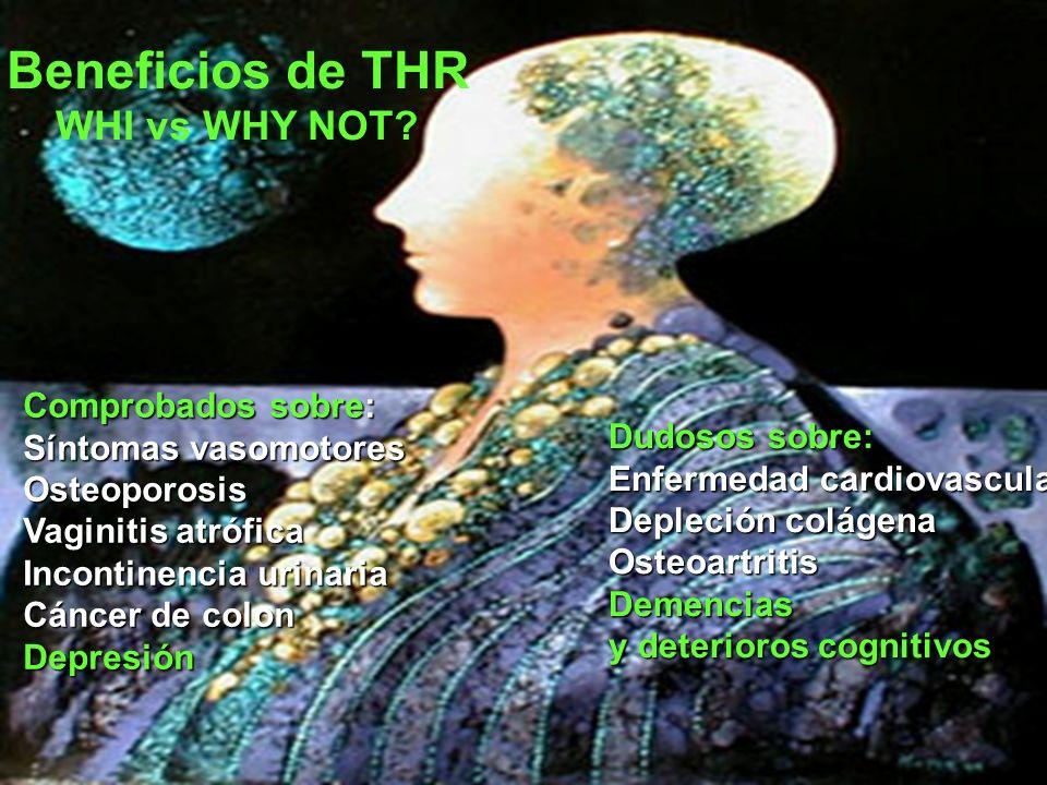 Beneficios de THR WHI vs WHY NOT? Comprobados sobre: Síntomas vasomotores Osteoporosis Vaginitis atrófica Incontinencia urinaria Cáncer de colon Depre