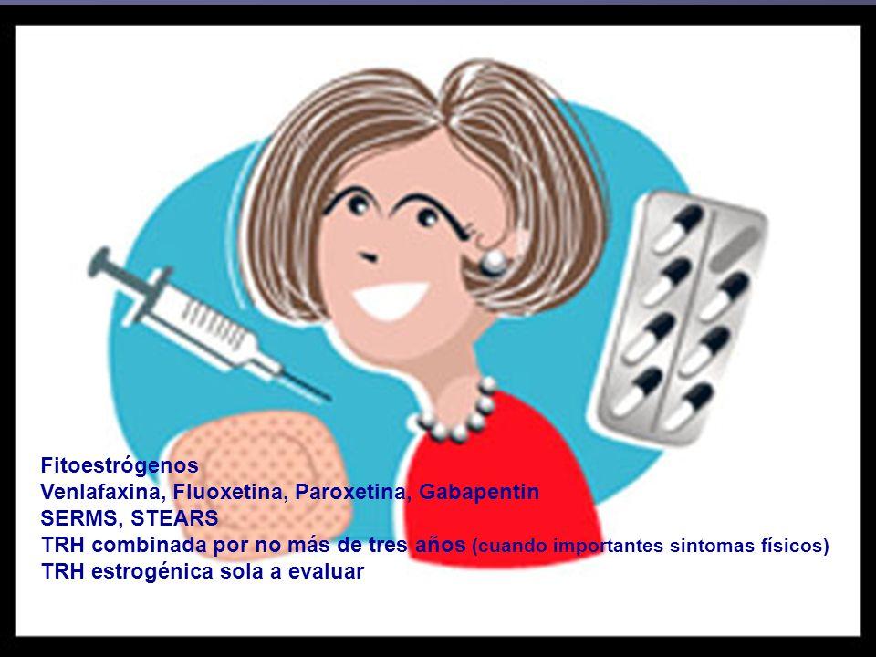 Recomendaciones FDA Fitoestrógenos Venlafaxina, Fluoxetina, Paroxetina, Gabapentin SERMS, STEARS TRH combinada por no más de tres años (cuando importa