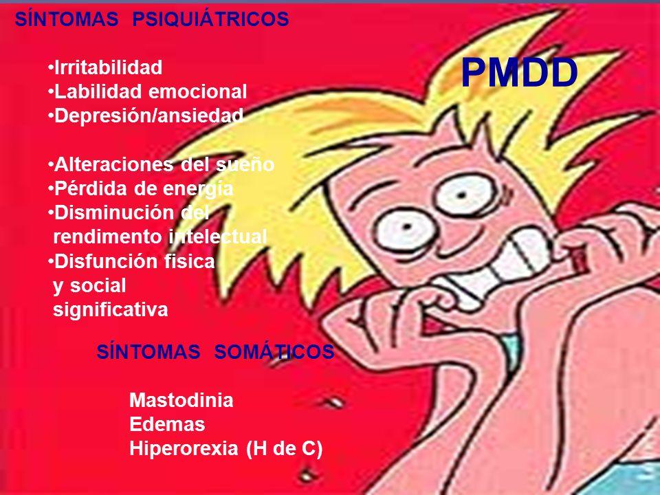ETIOLOGÍA DEL PMDD Factores Factores Genéticos Esteroides Gonadales y Gonadotrofinas Factores Hormonales, Prolactina, GH, Tiroideo, Adrenal, MLT Neurotransmisores Disminución actividad de la MAO por PG Aumento actividad NA Disminución del tono 5-HT por est.