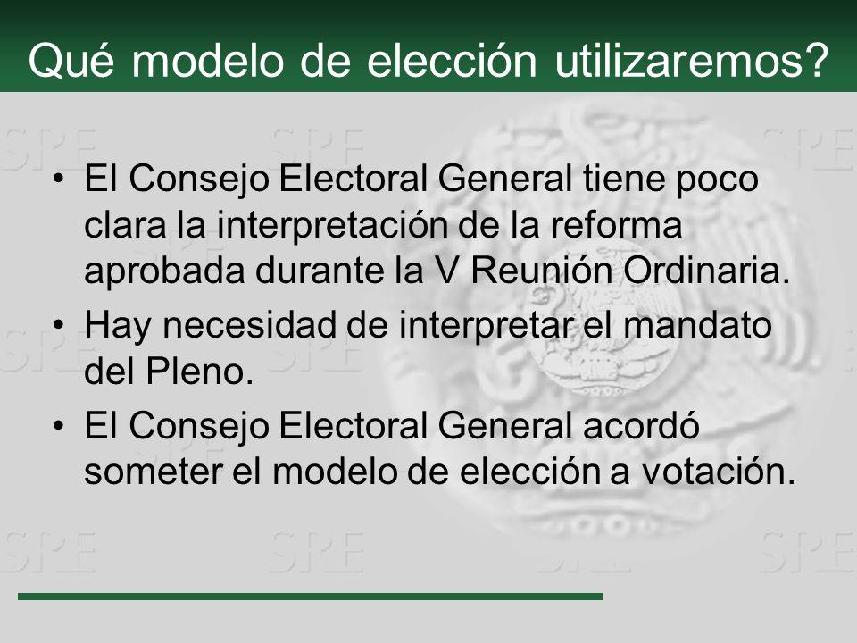 Qué modelo de elección utilizaremos? El Consejo Electoral General tiene poco clara la interpretación de la reforma aprobada durante la V Reunión Ordin