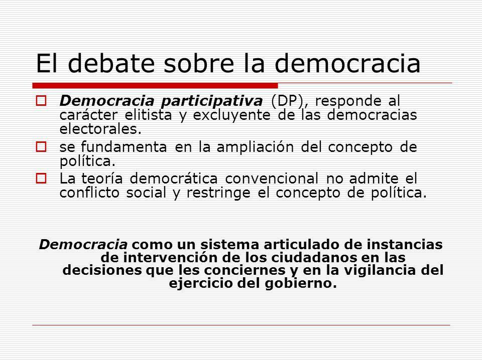 El debate sobre la democracia Democracia participativa (DP), responde al carácter elitista y excluyente de las democracias electorales. se fundamenta