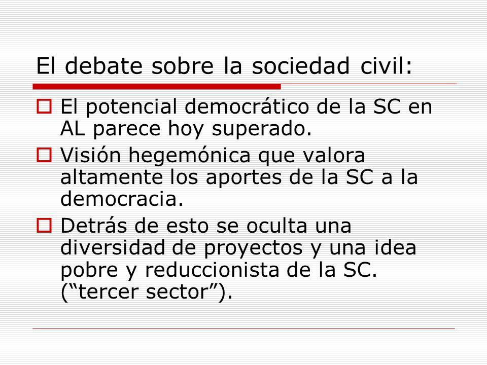 El debate sobre la sociedad civil: El potencial democrático de la SC en AL parece hoy superado. Visión hegemónica que valora altamente los aportes de