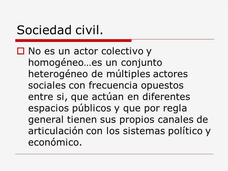 Sociedad civil. No es un actor colectivo y homogéneo…es un conjunto heterogéneo de múltiples actores sociales con frecuencia opuestos entre si, que ac