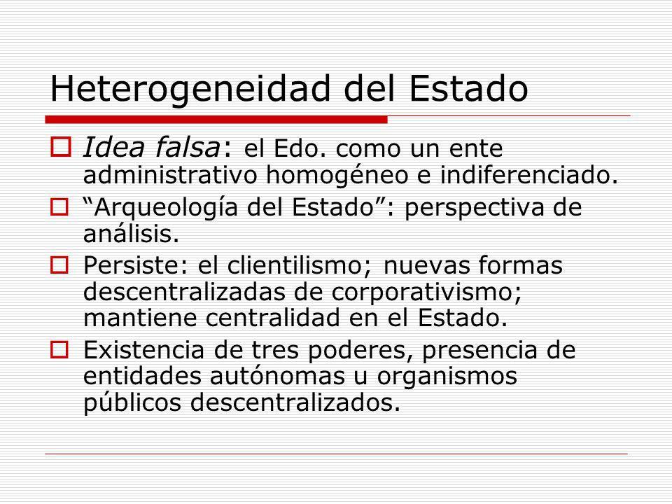 Heterogeneidad del Estado Idea falsa: el Edo. como un ente administrativo homogéneo e indiferenciado. Arqueología del Estado: perspectiva de análisis.