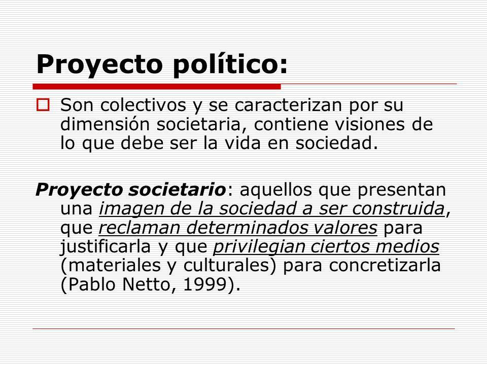 Proyecto político: Son colectivos y se caracterizan por su dimensión societaria, contiene visiones de lo que debe ser la vida en sociedad. Proyecto so