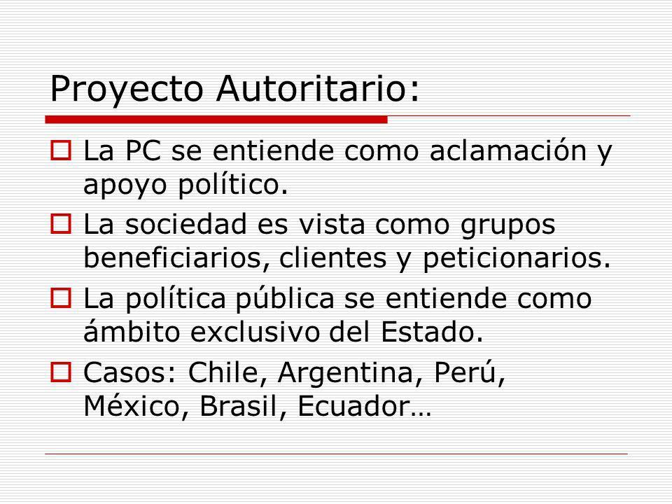 Proyecto Autoritario: La PC se entiende como aclamación y apoyo político. La sociedad es vista como grupos beneficiarios, clientes y peticionarios. La