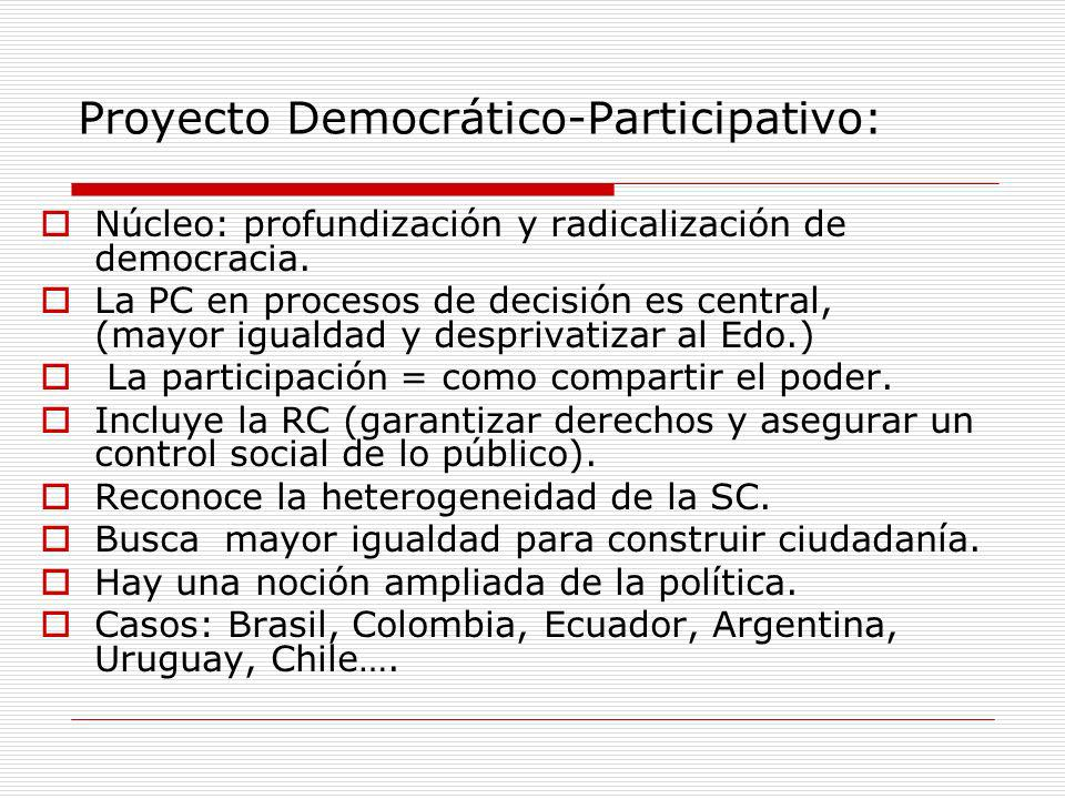 Proyecto Democrático-Participativo: Núcleo: profundización y radicalización de democracia. La PC en procesos de decisión es central, (mayor igualdad y