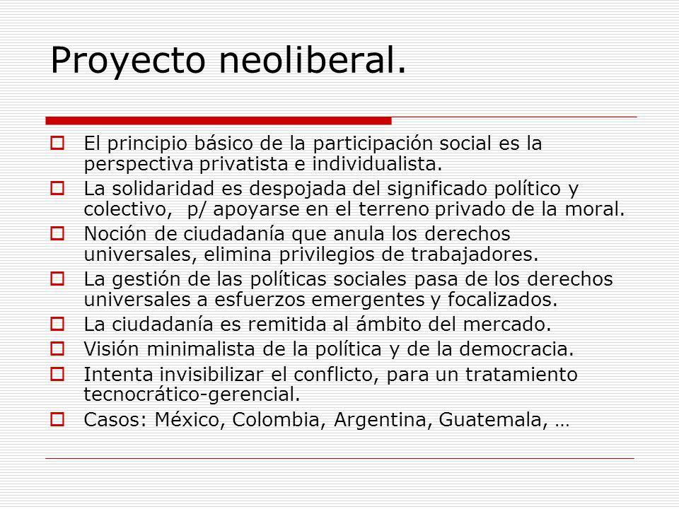 Proyecto neoliberal. El principio básico de la participación social es la perspectiva privatista e individualista. La solidaridad es despojada del sig