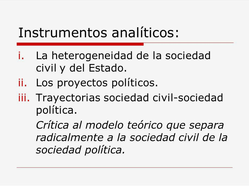 Instrumentos analíticos: i.La heterogeneidad de la sociedad civil y del Estado. ii.Los proyectos políticos. iii.Trayectorias sociedad civil-sociedad p