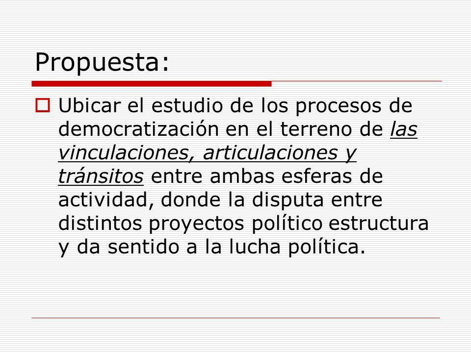 Propuesta: Ubicar el estudio de los procesos de democratización en el terreno de las vinculaciones, articulaciones y tránsitos entre ambas esferas de