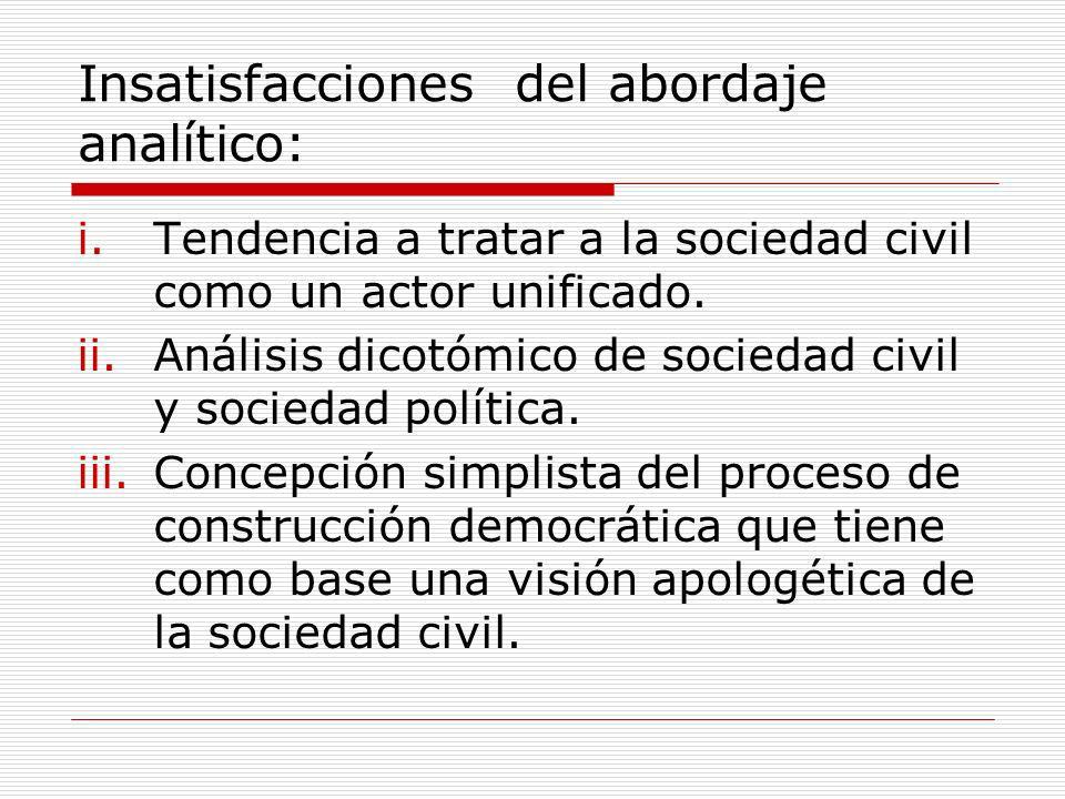 Insatisfacciones del abordaje analítico: i.Tendencia a tratar a la sociedad civil como un actor unificado. ii.Análisis dicotómico de sociedad civil y