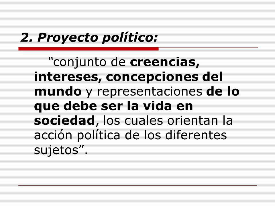 2. Proyecto político: conjunto de creencias, intereses, concepciones del mundo y representaciones de lo que debe ser la vida en sociedad, los cuales o