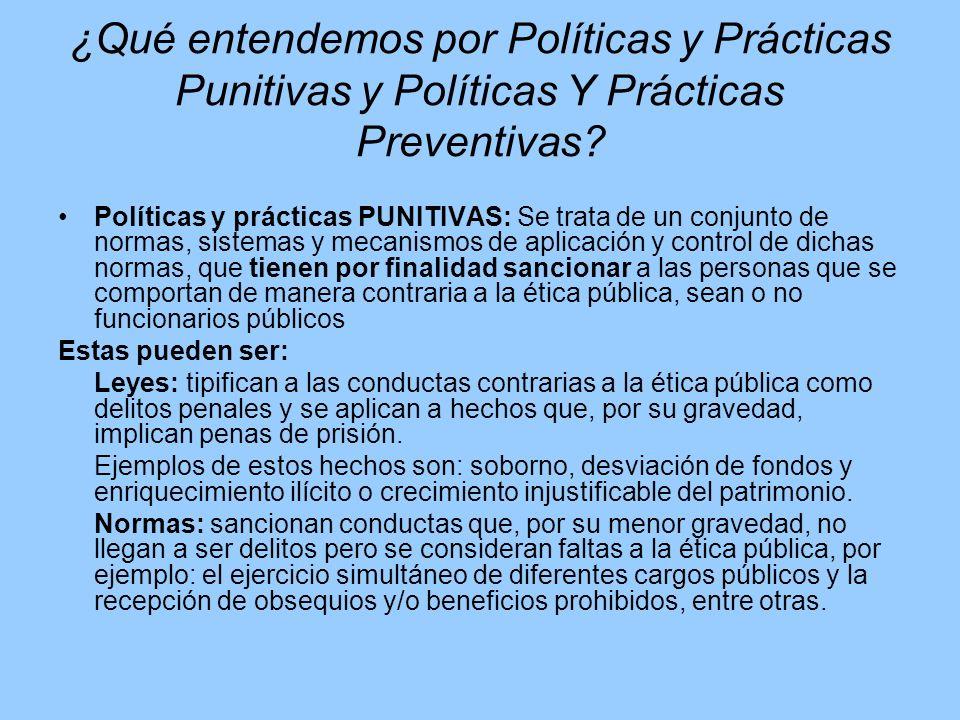 ¿Qué entendemos por Políticas y Prácticas Punitivas y Políticas Y Prácticas Preventivas? Políticas y prácticas PUNITIVAS: Se trata de un conjunto de n