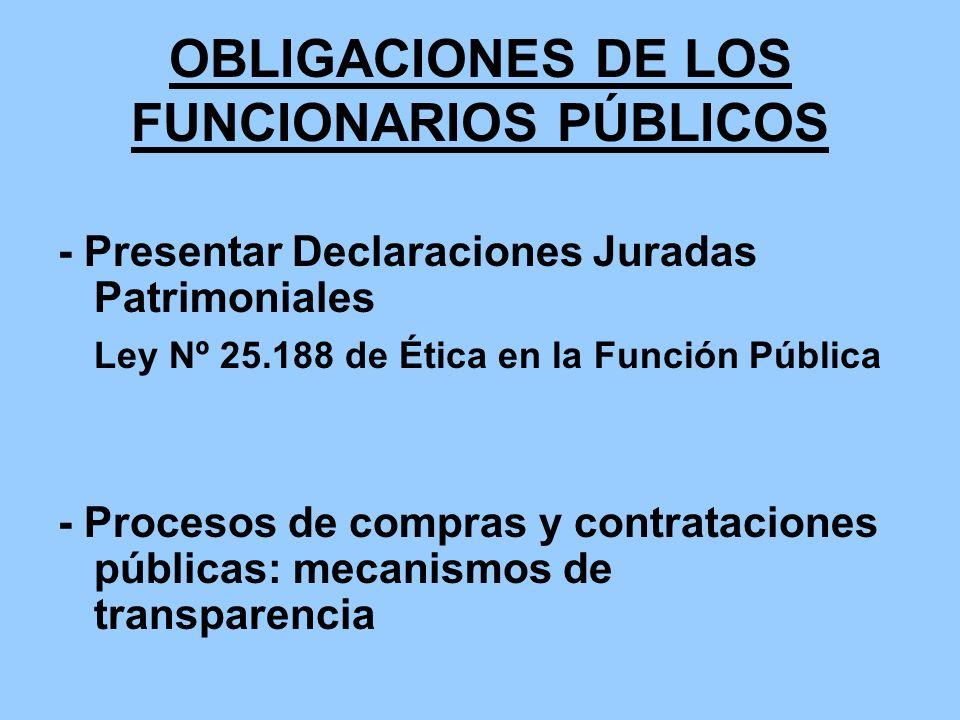 OBLIGACIONES DE LOS FUNCIONARIOS PÚBLICOS - Presentar Declaraciones Juradas Patrimoniales Ley Nº 25.188 de Ética en la Función Pública - Procesos de c