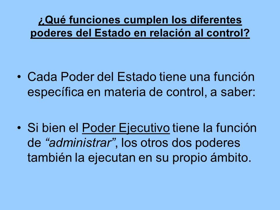 ¿Qué funciones cumplen los diferentes poderes del Estado en relación al control? Cada Poder del Estado tiene una función específica en materia de cont