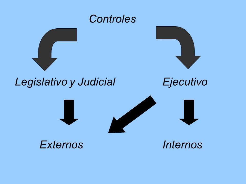 Controles Legislativo y JudicialEjecutivo ExternosInternos