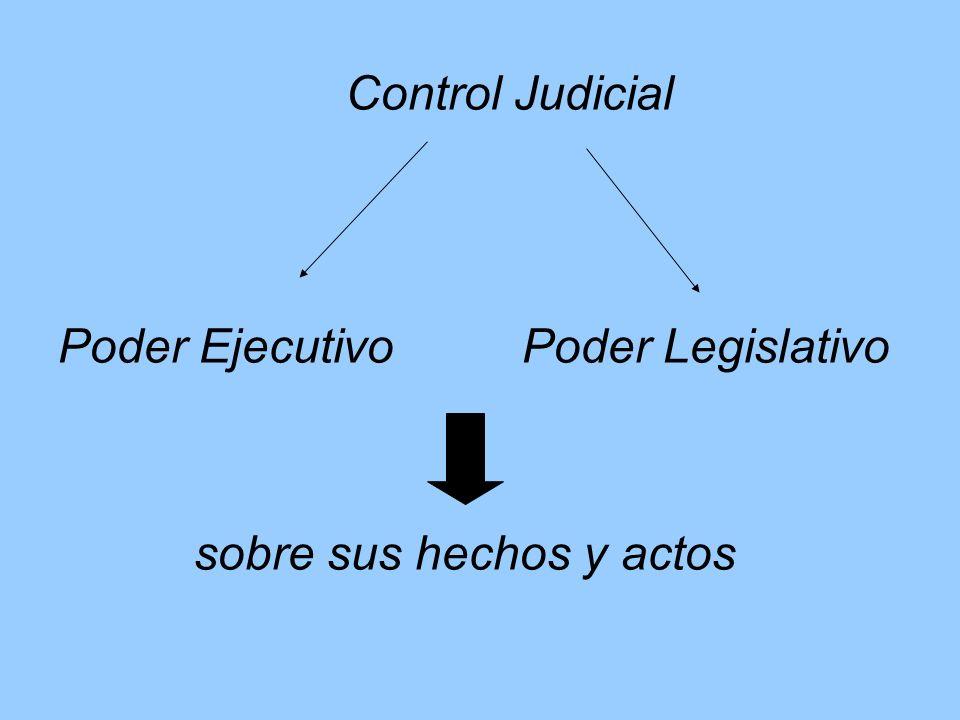 Control Judicial Poder Ejecutivo Poder Legislativo sobre sus hechos y actos