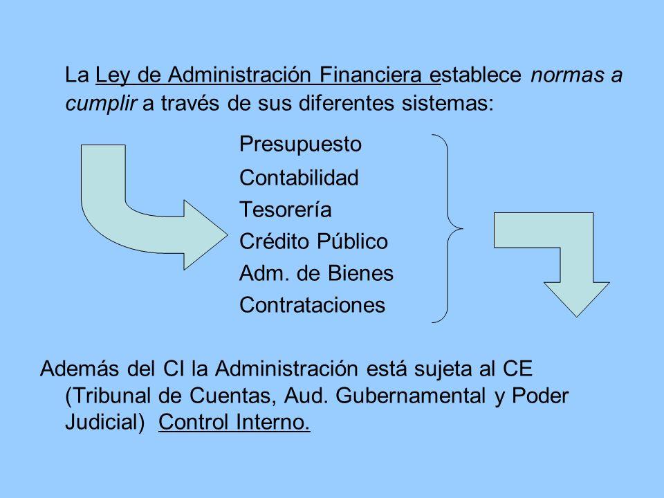 La Ley de Administración Financiera establece normas a cumplir a través de sus diferentes sistemas: Presupuesto Contabilidad Tesorería Crédito Público