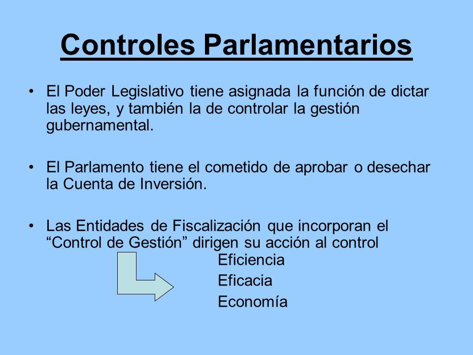 Controles Parlamentarios El Poder Legislativo tiene asignada la función de dictar las leyes, y también la de controlar la gestión gubernamental. El Pa