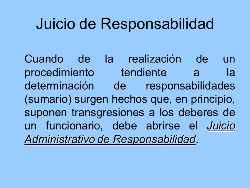 Juicio de Responsabilidad Juicio Administrativo de Responsabilidad Cuando de la realización de un procedimiento tendiente a la determinación de respon