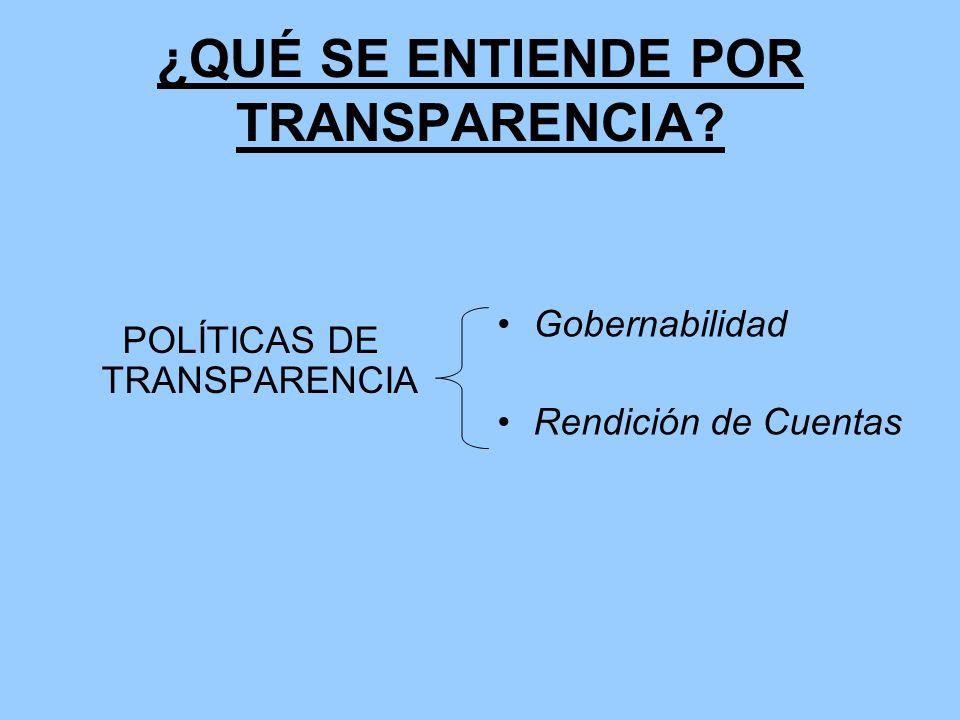 ¿QUÉ SE ENTIENDE POR TRANSPARENCIA? POLÍTICAS DE TRANSPARENCIA Gobernabilidad Rendición de Cuentas